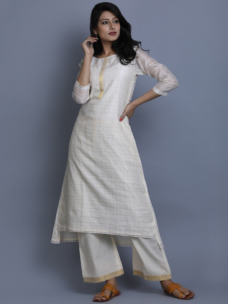 Ivory Checkered Chanderi Kurta
