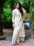 Ivory Cream Mughal Foil Printed Chanderi Suit - Set of 2