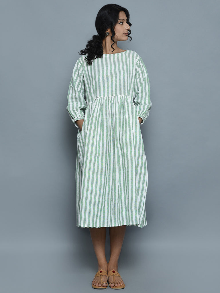 Ivory Green Handwoven Khadi Dress