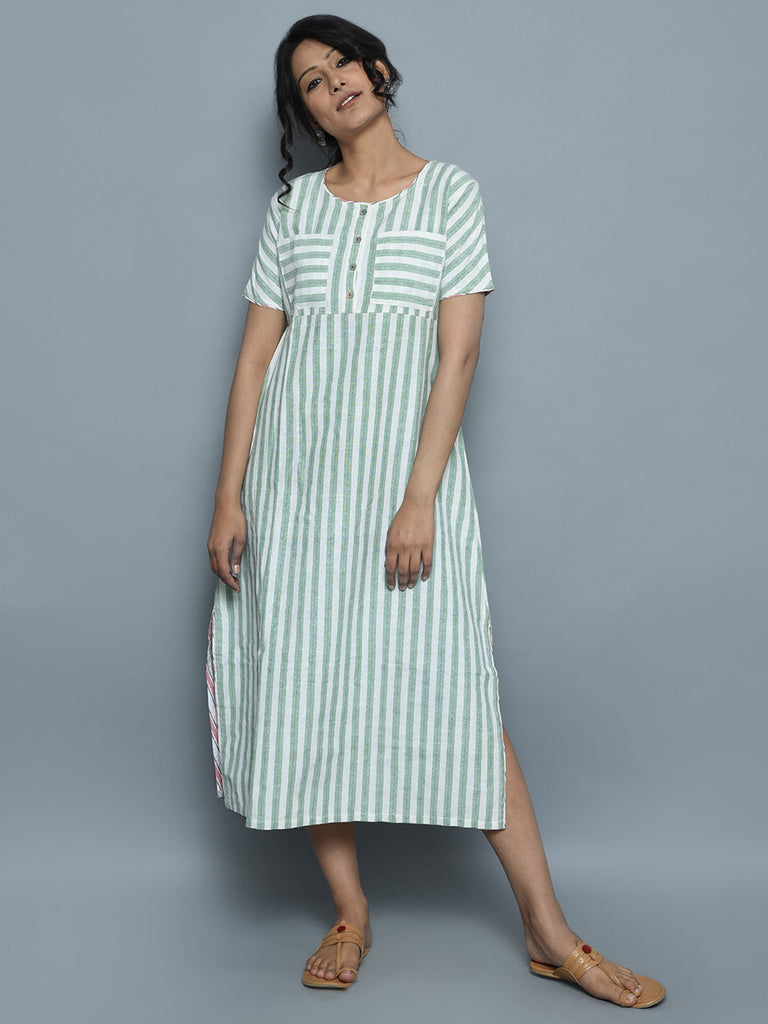 Ivory Green Handwoven Khadi Stripe Dress