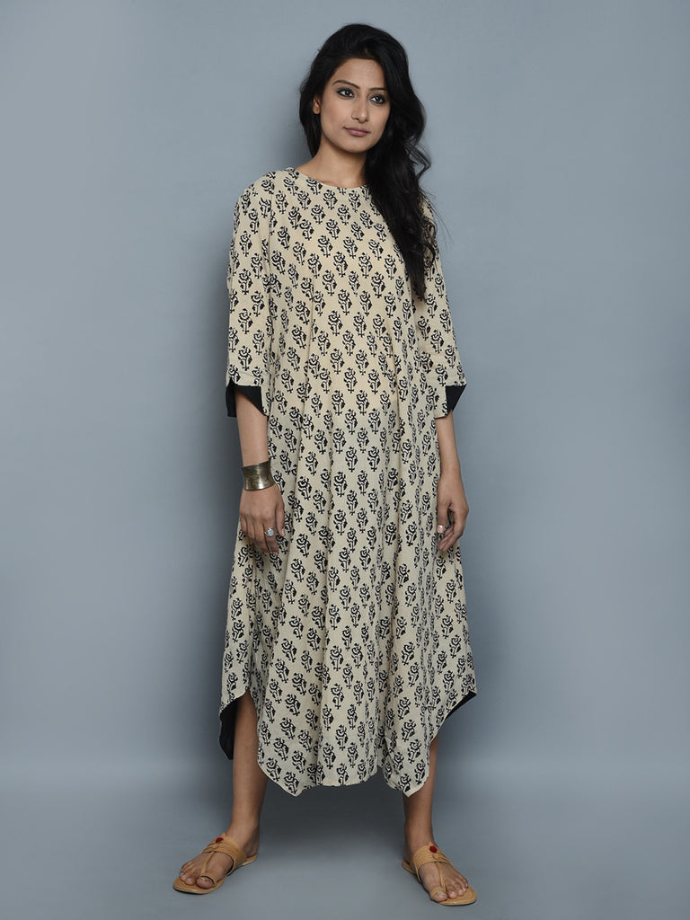 Ivory Hand Block Printed Cotton Dress