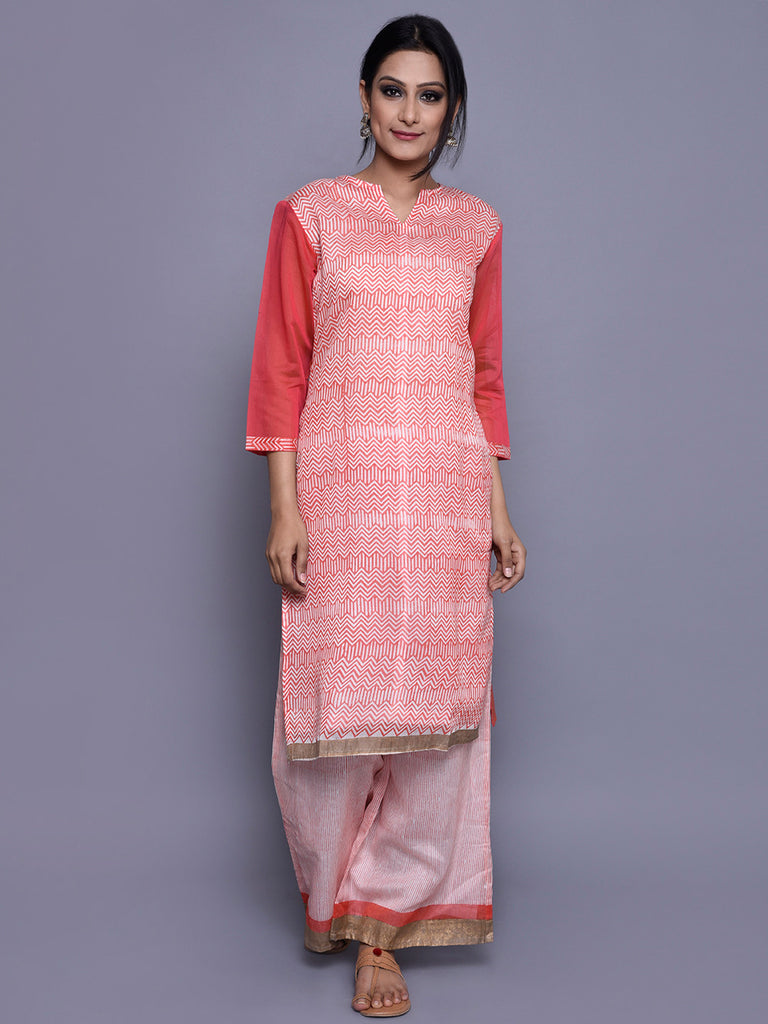 Ivory Orange Chanderi Block Printed Kurta with Cotton Lining
