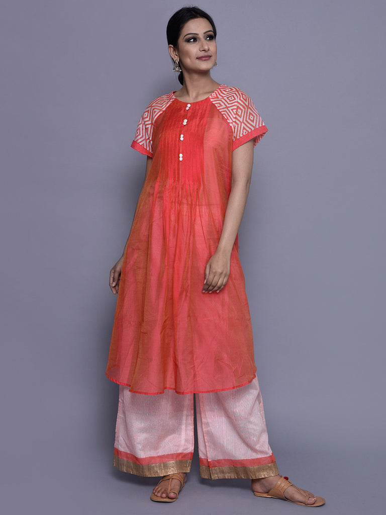 Ivory Orange Chanderi Pintuck Kurta with Cotton Slip