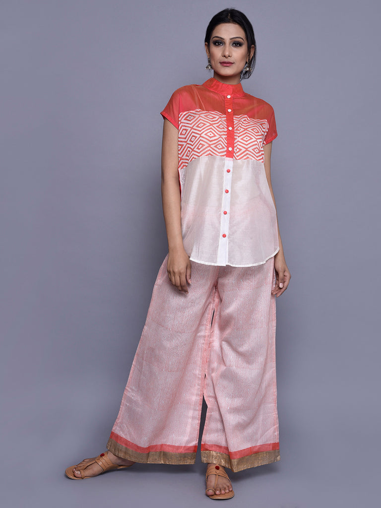 Ivory Orange Chanderi Shirt with Horizontal Panels