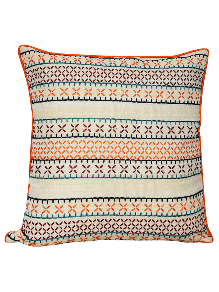 Ivory Orange Blue Dupion Silk Embroidered Cushion Cover