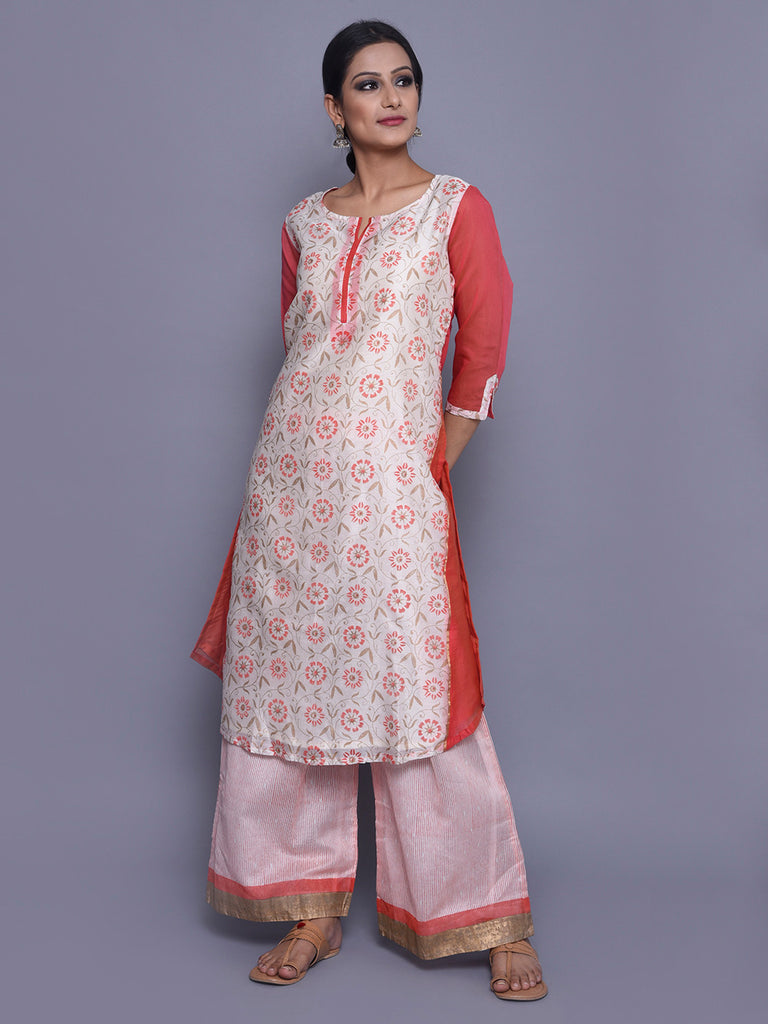 Ivory Pink Chanderi Block Printed Kurta with Cotton Mul Lining