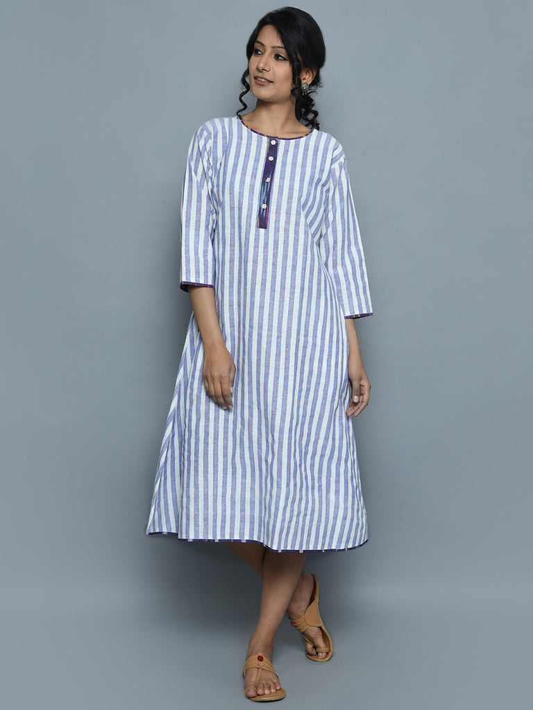 Ivory Purple Handwoven Khadi Stripe Dress