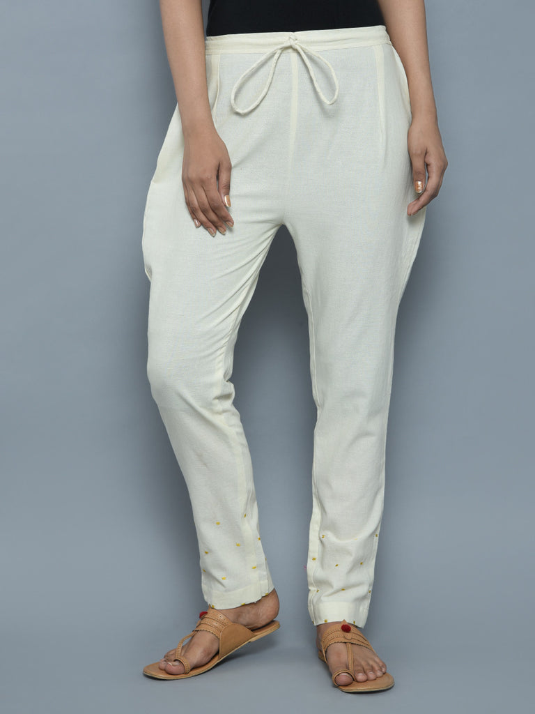 Ivory Khadi Linen Hand Embroidered Pants