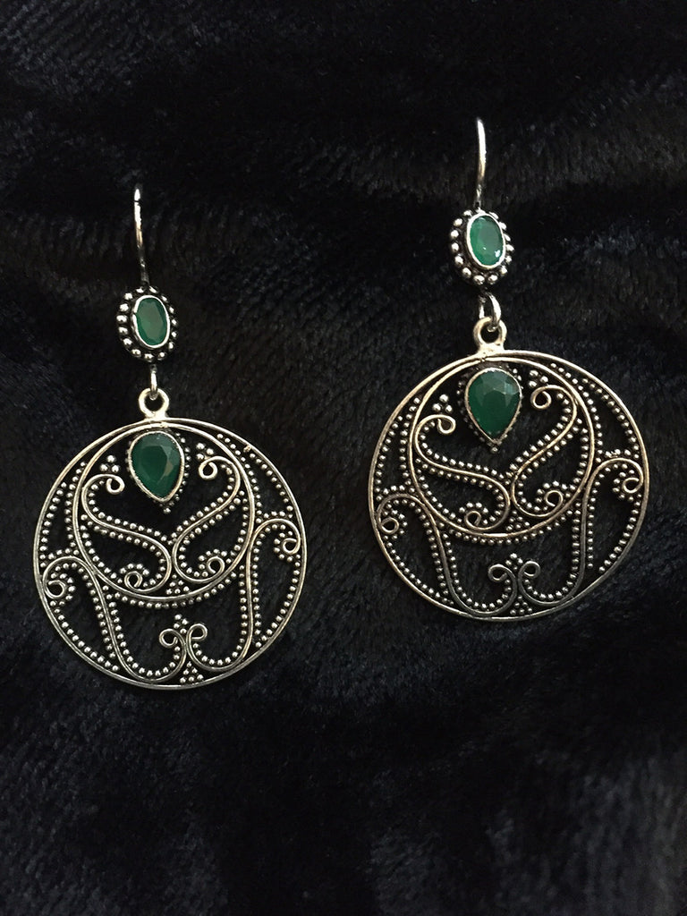 Jaali Emerald Silver Earrings
