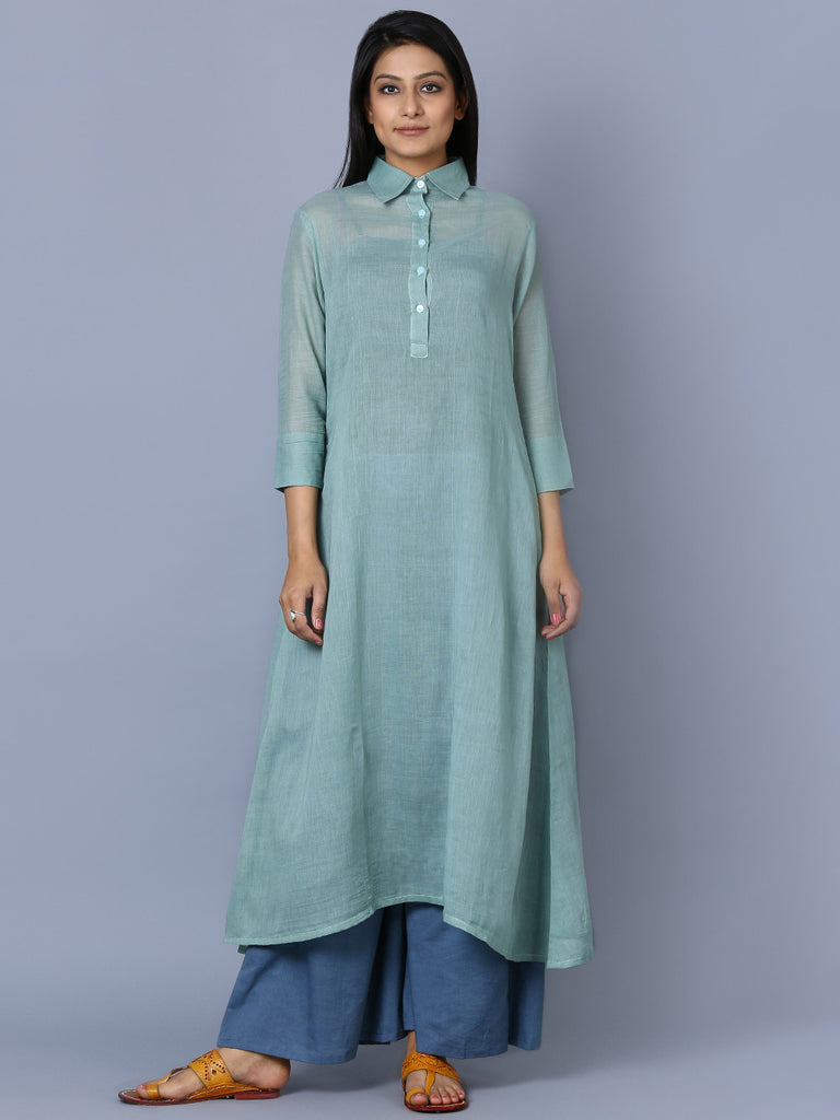 Jade Green Mulmul Shirt Collar Kurta