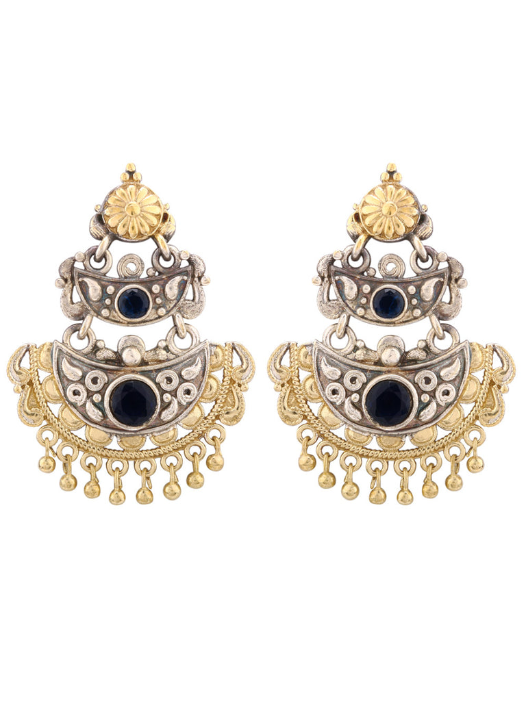 Jahanara Dual Plated with Blue Stone Earrings