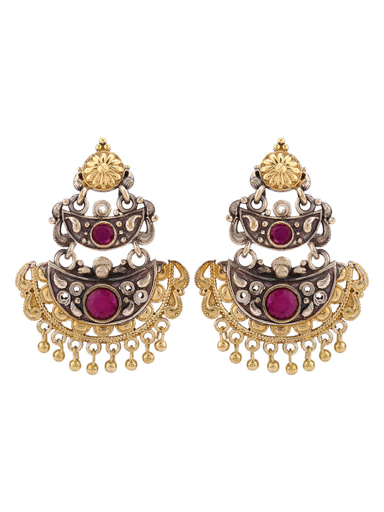 Jahanara Dual Plated with Red Stone Studs