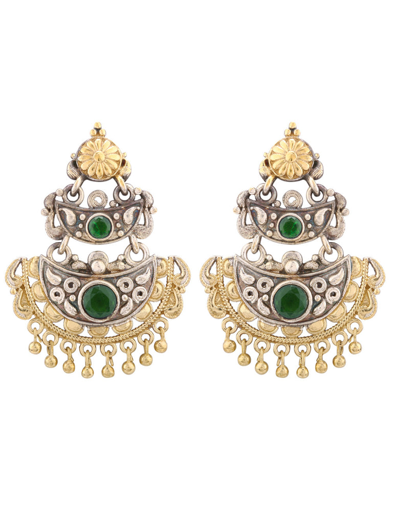 Jahanara Dual Plated with Green Stone Earrings