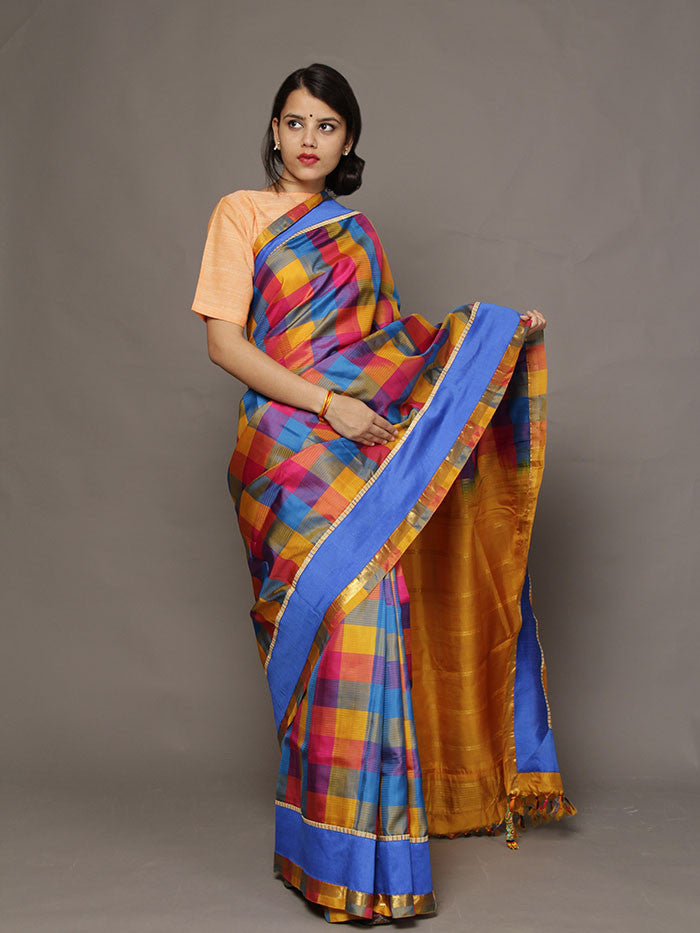 Kolam Windowpane Kanchi Silk Saree