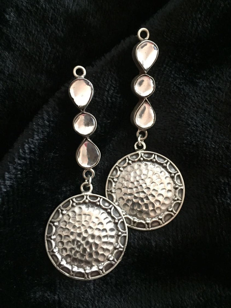 Kundan Disc Silver Earrings