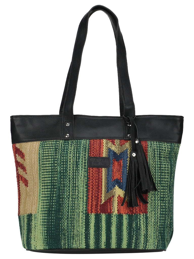 Multi Color Kilim Faux Leather Shopper Bag