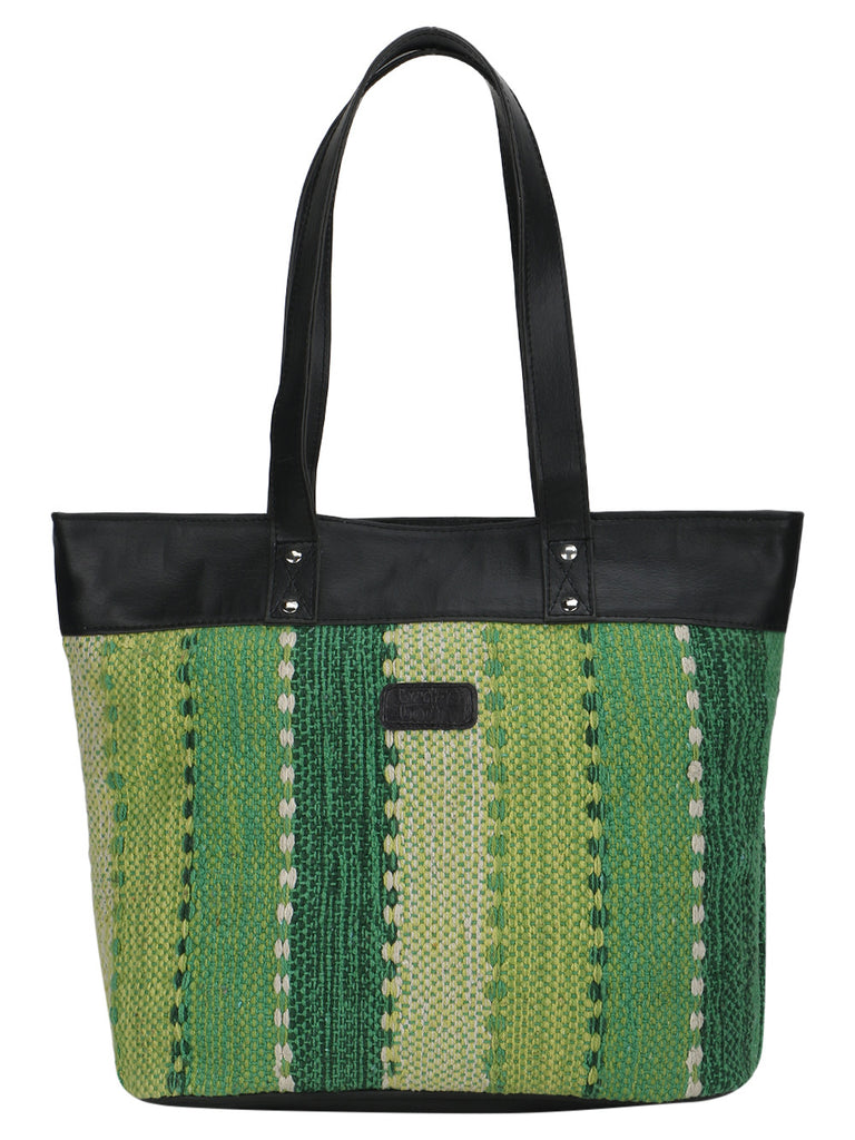 Green Kilim Faux Leather Shopper Bag