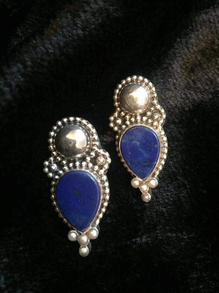 Lapis Pearl Silver Studs
