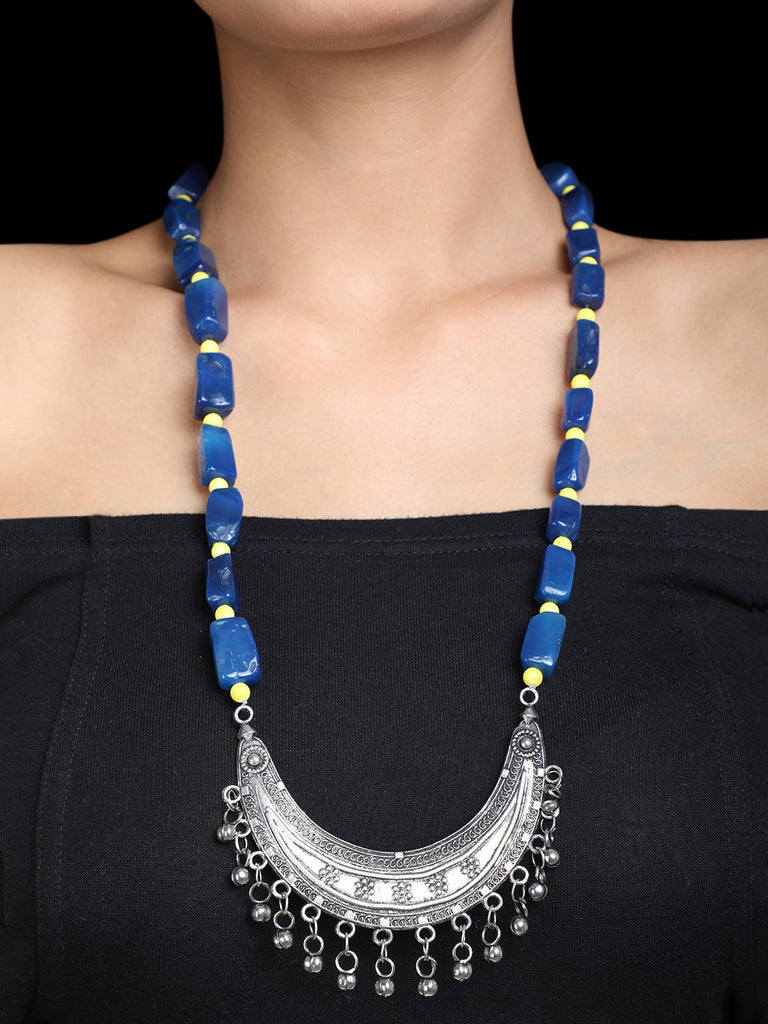 Lapis Yellow Stone Silver Plated Necklace