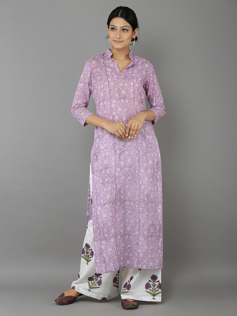 Lavender White Mulmul Cotton Kurta with Block Printed Palazzo