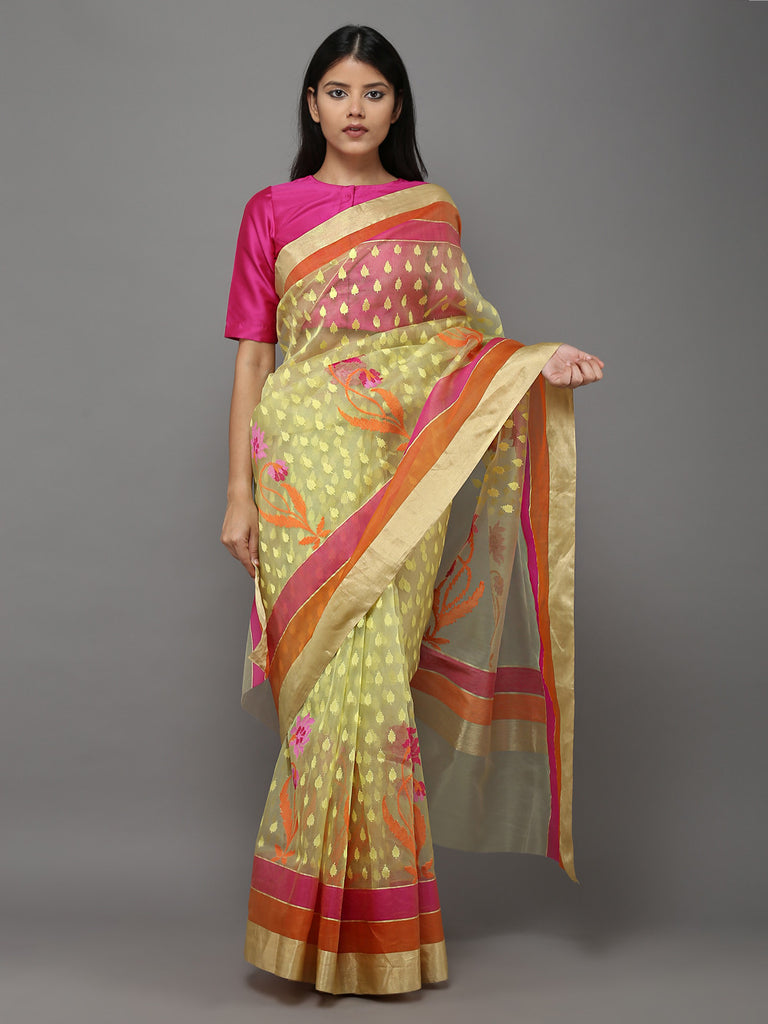 Lemon Green Orange Handwoven Banarasi Cotton Silk Saree