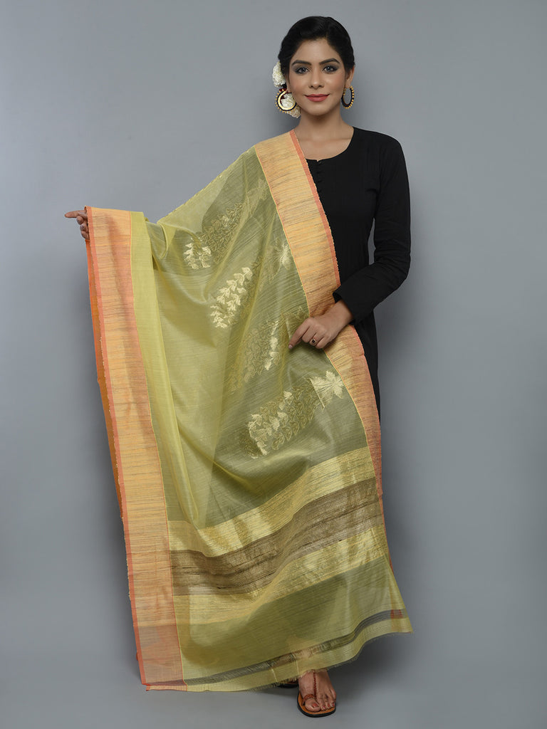 Lemon Yellow Kora Cotton Handwoven Banarasi Dupatta