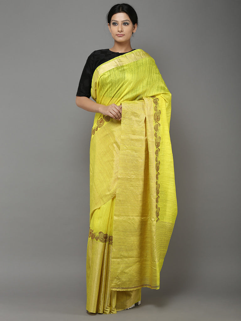 Yellow Handwoven Banarasi Dupion Silk Saree