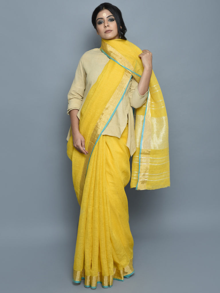 Lemon Yellow Handwoven Linen Saree
