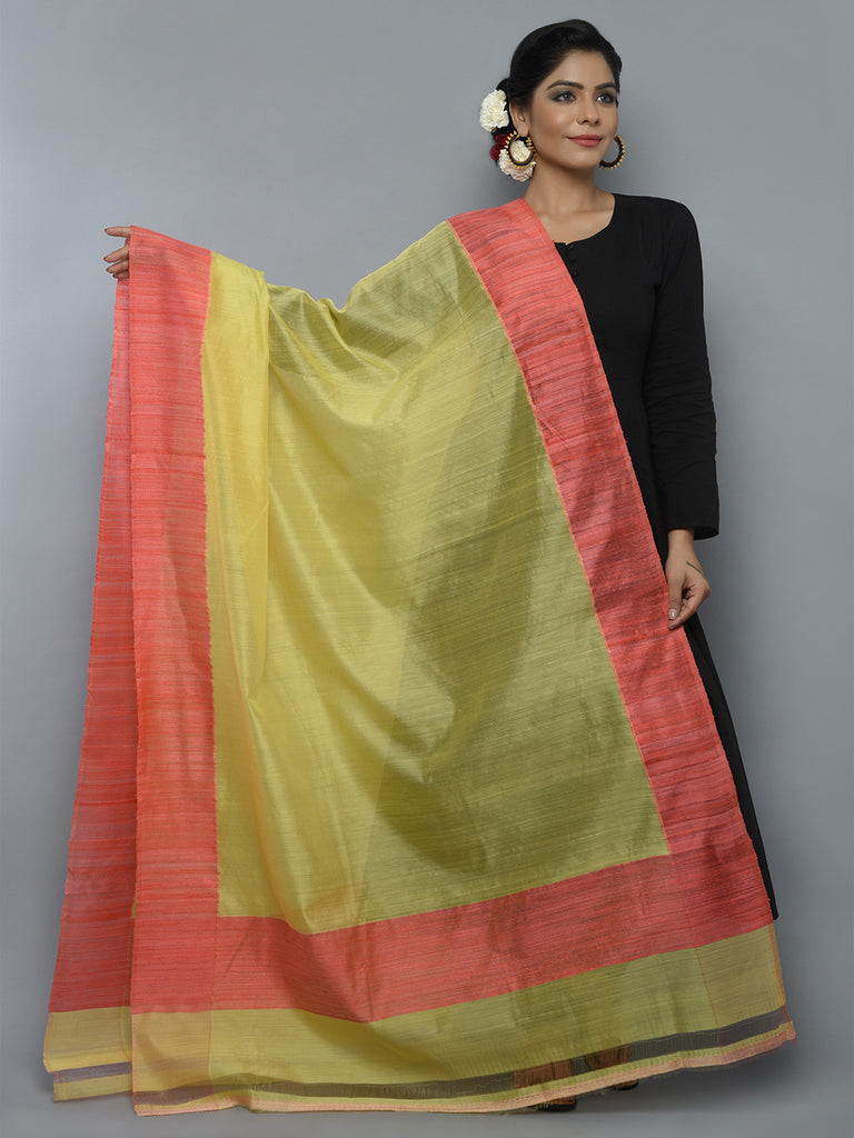 Lemon Yellow Peach Kora Cotton Handwoven Banarasi Dupatta