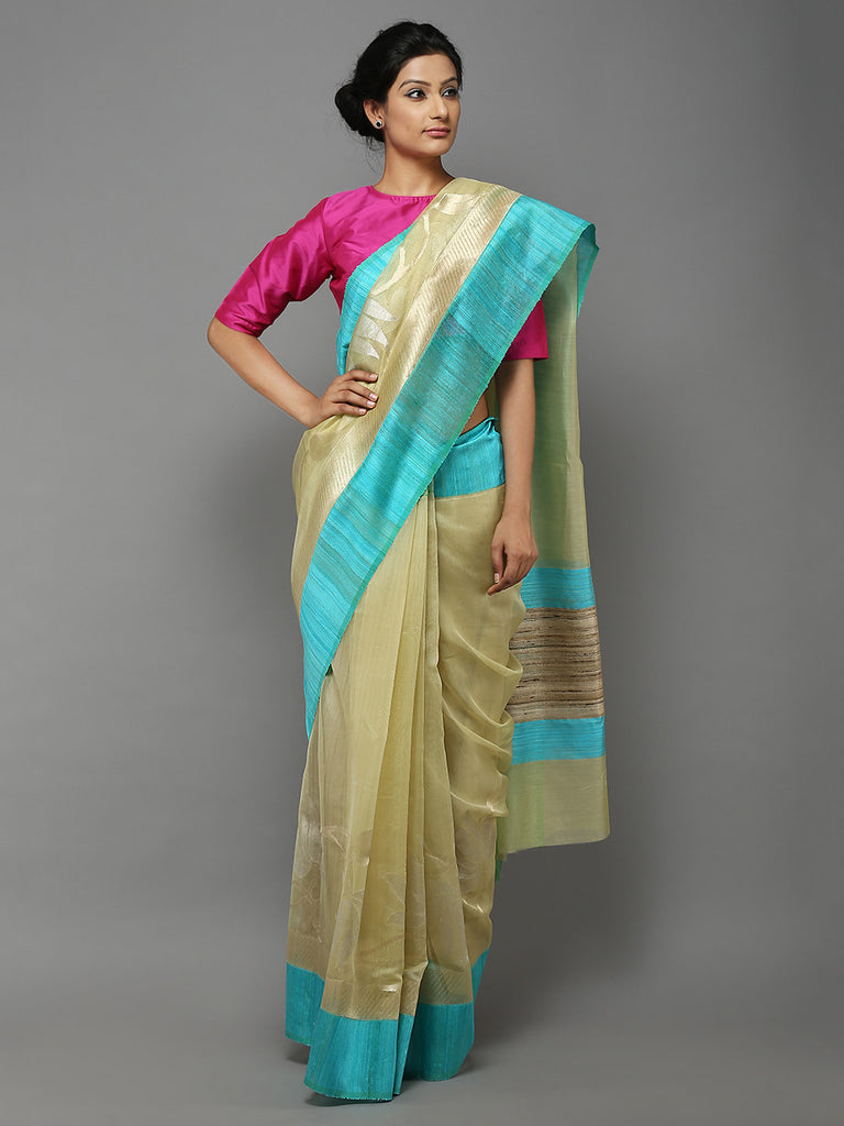 Yellow Blue Handwoven Banarasi Cotton Silk Saree