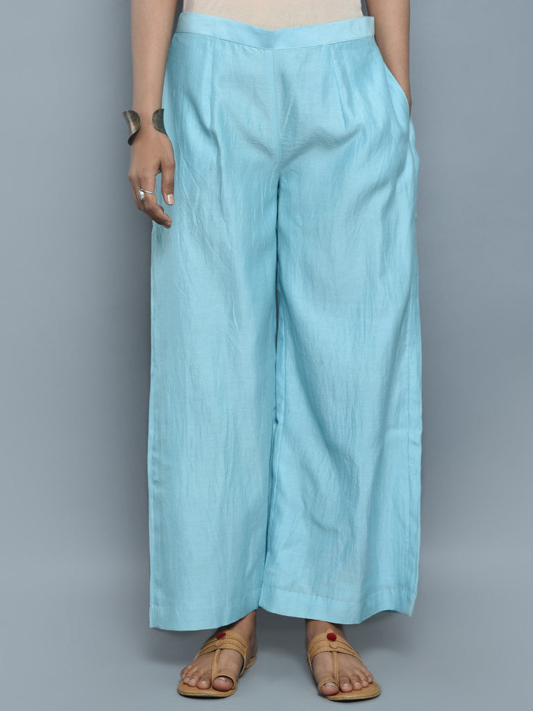 Light Blue Chanderi Cotton Palazzo