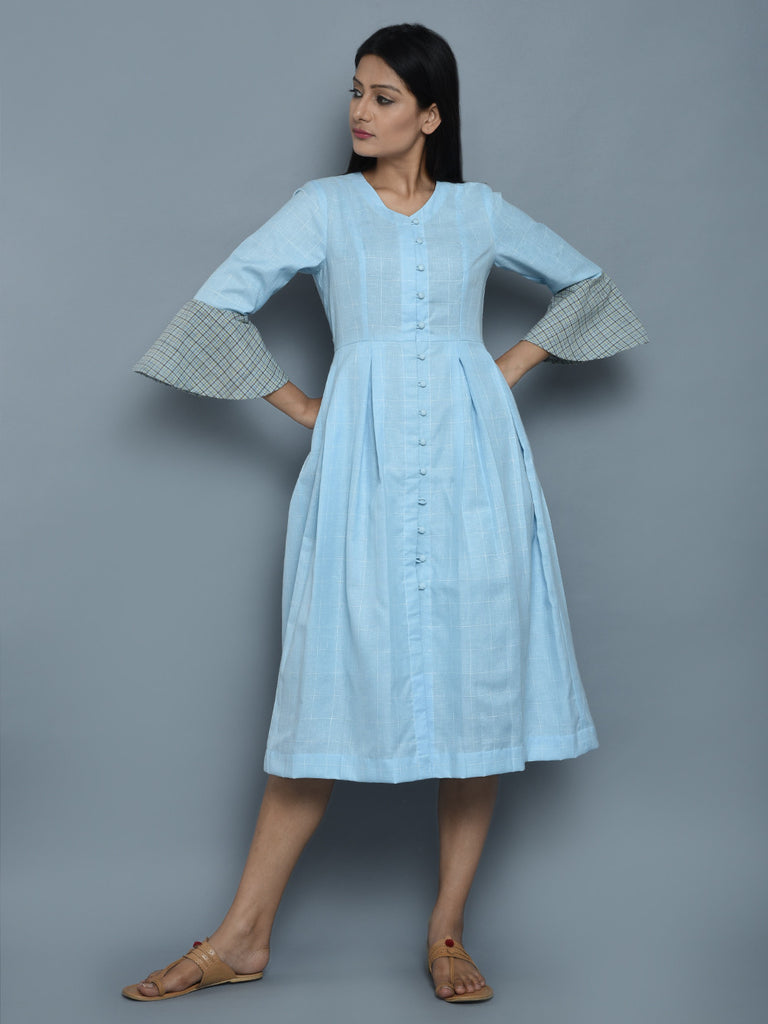 Light Blue Cotton Midi Dress with Bell Sleeves