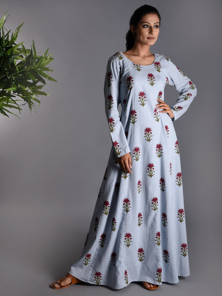Light Blue Khadi Hand Block Printed Dress
