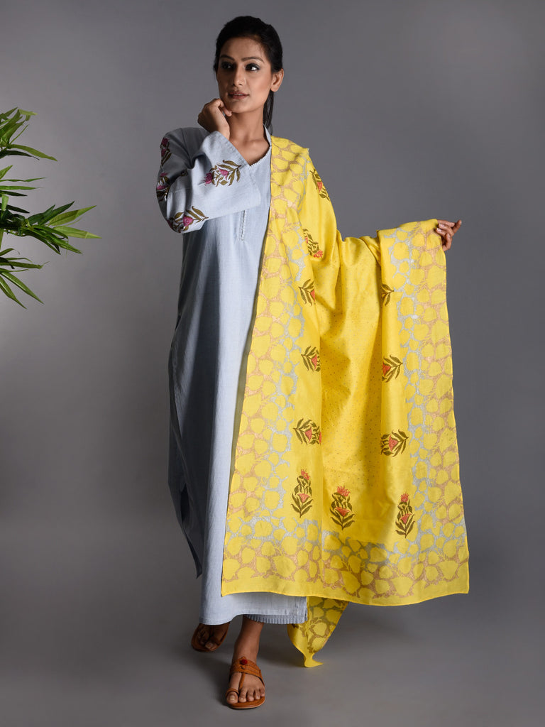Light Blue Yellow Block Printed  Khadi Kurta and Pants with Chanderi Dupatta - Set of 3