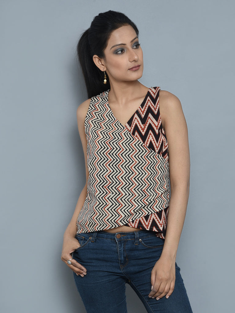 Light Brown Cambric Cotton Asymmetric Achkan Short Top