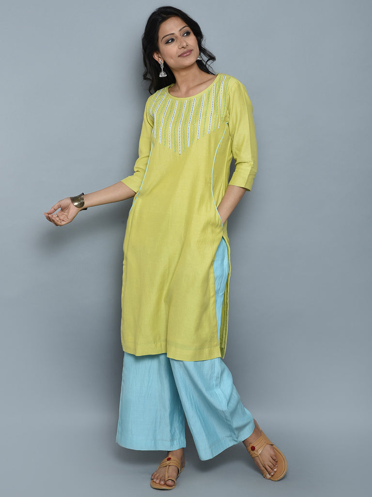 Light Green Chanderi Cotton Hand Embroidered Kurta