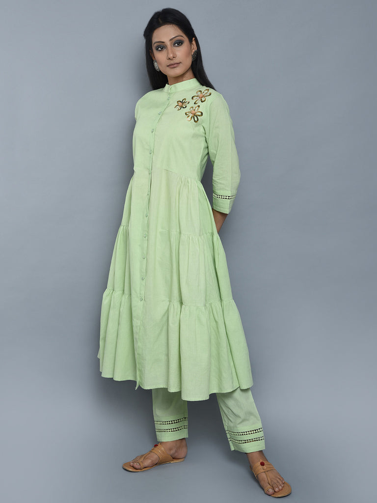 Light Green Mulmul Cotton Kurta and Pants - Set of 2