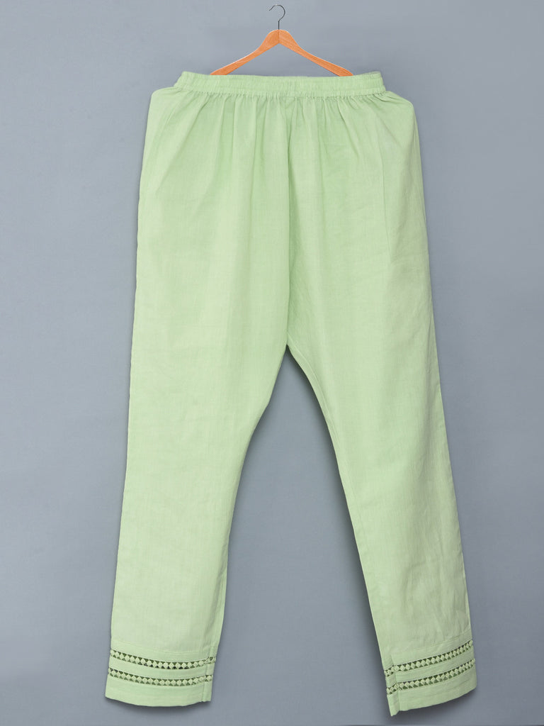 Light Green Mulmul Cotton Pants