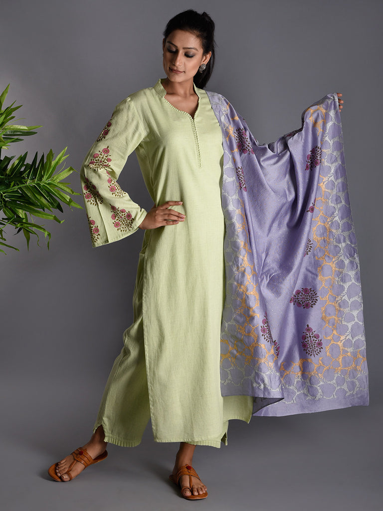 Light Green Purple Block Printed Khadi Kurta and Pants with Chanderi Dupatta - Set of 3