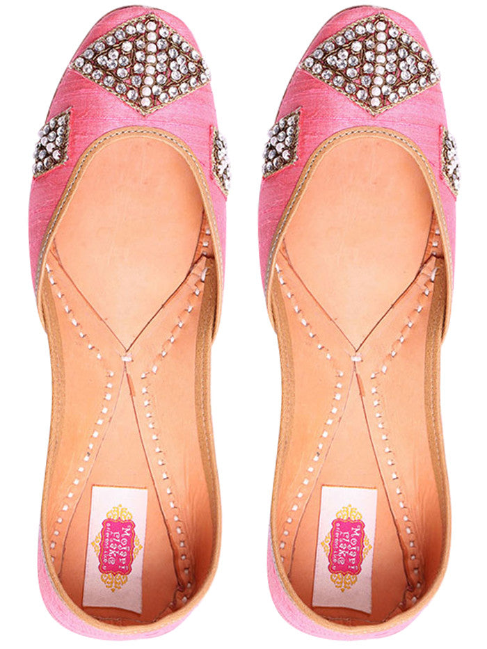 Light Pink Hand Embroidered Leather Mojari