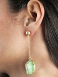 Light Green Druzy Chain Drop Earrings