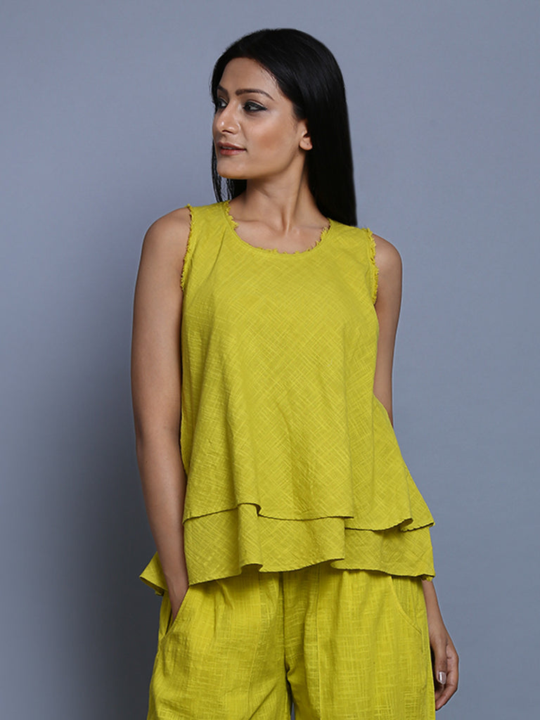 Green Khadi Cotton Flared Top