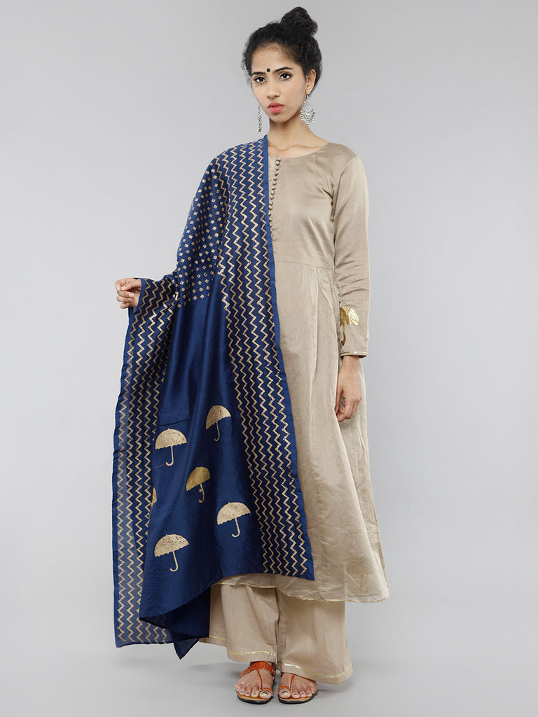 Blue Gold Foil Block Printed Dupatta