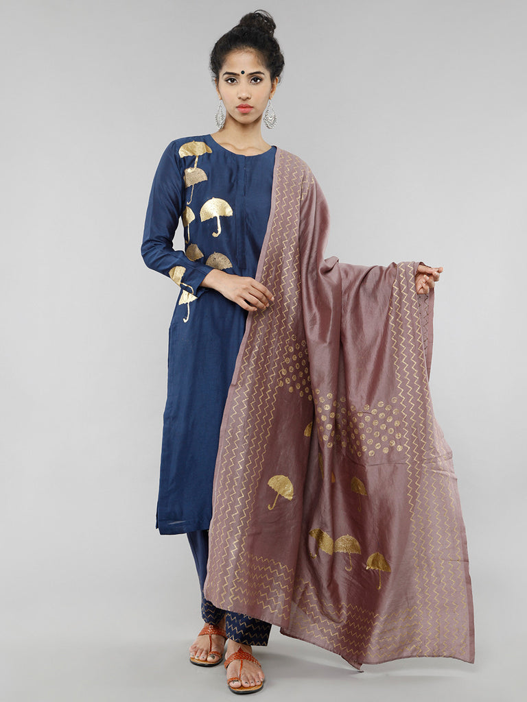 Brown Gold Foil Block Printed Dupatta