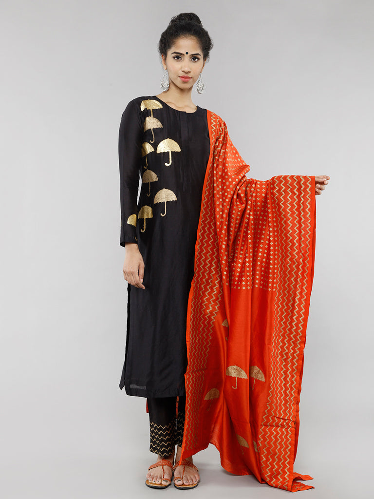 Orange Gold Foil Block Printed Dupatta