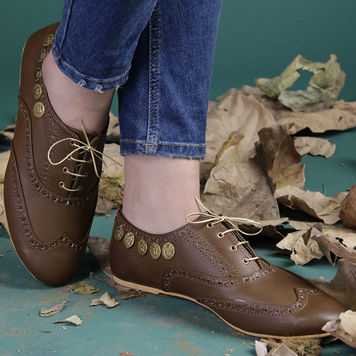 Brown Coin Leather Shoes