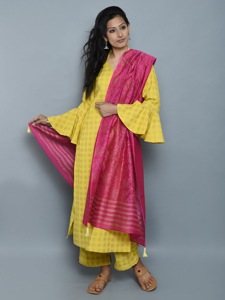Yellow Block Printed Khadi Kurta and Pants with Magenta Chanderi Dupatta - Set of 3