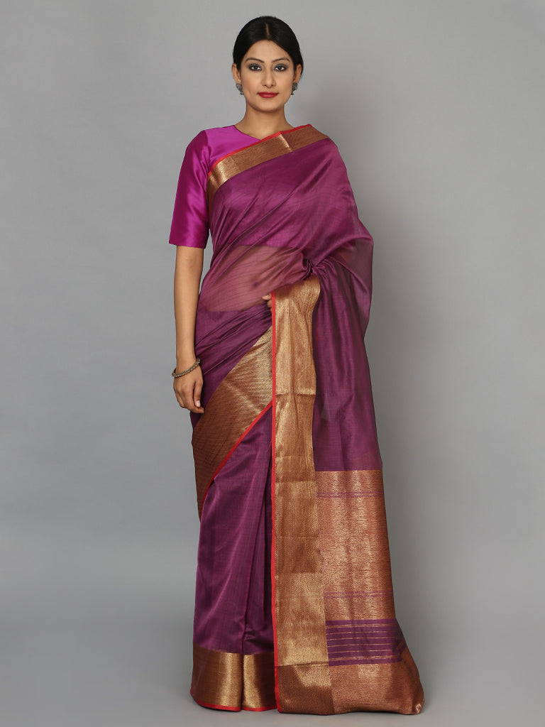 Purple Hand Woven Banarasi Cotton Silk Saree