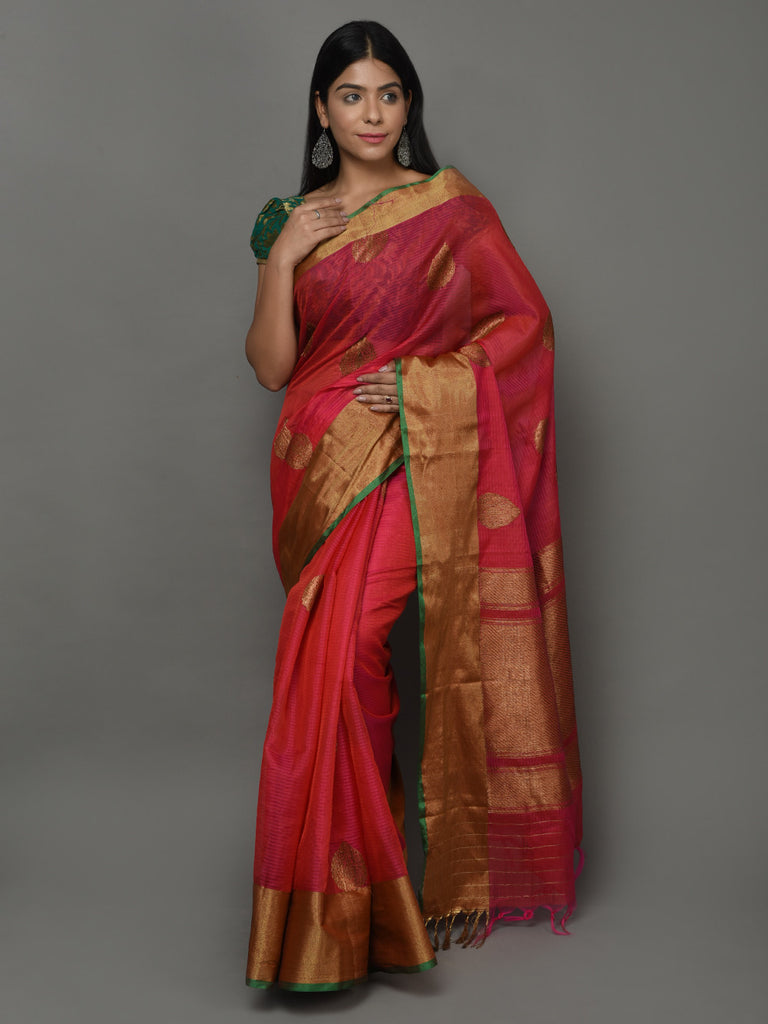 Pink Orange Handwoven Kora Cotton Banarasi Saree