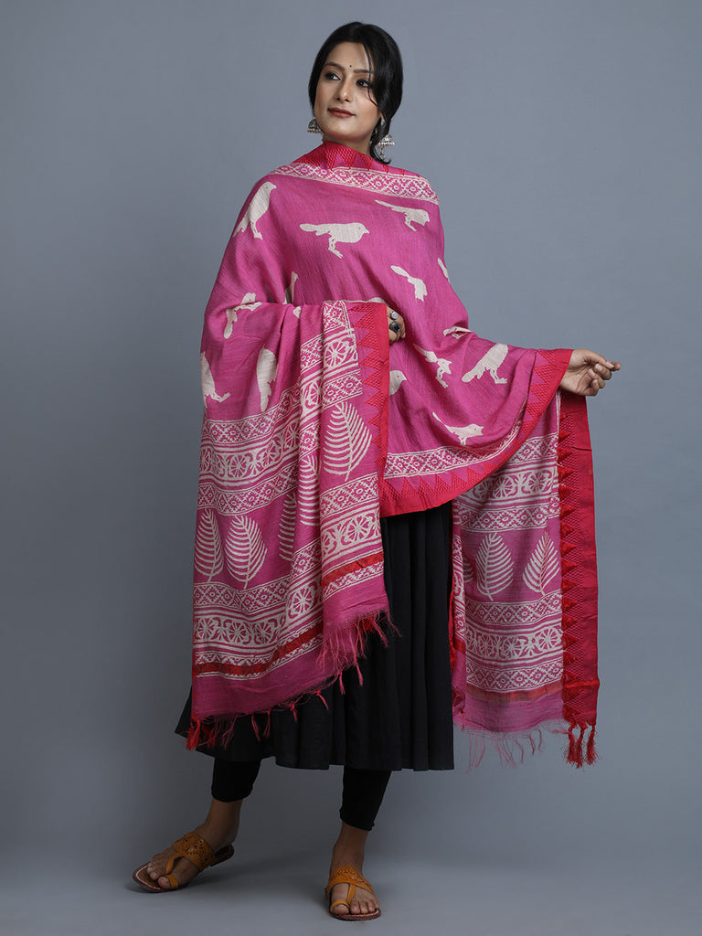 Pink Red Block Printed Silk Dupatta